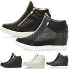 Womens ladies gold zip medium wedge heel ankle boots sporty trainers size