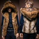 NEW Men's Faux Fur Waistcoat No Sleeve Jacket with Hat Fake Fur Hooded Coat