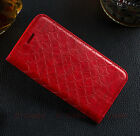 Luxury Wallet Grid pattern Stand Flip Card PU Leather Soft Gel Case For Phones