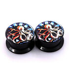 1PAIR-EAR PLUG -ACRYLIC SCREWED-FIT EAR GAUGES FLESH TUNNEL DOUBLE FLARED EARLET