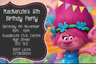 Personalised Trolls Film Poppy Birthday Party Invites inc envelopes TROLL1