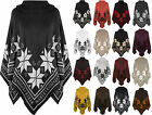 Plus Womens Snowflake Aztec Knitted Waterfall Cape Shawl Top Ladies Poncho 8-30