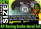 AP Racing Brake decal sticker Set size 85mm x2 40mm x2 four in total