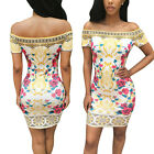 Hot Women Sexy Off Shoulder Print Bodycon Bandage Club Cocktail Party mini dress