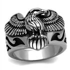 Men's New Stainless Steel Textured Winged Eagle Biker Ring - Sizes 8-14