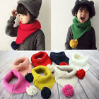 Kids Winter Fashion Warm Knitted Scarf Cotton Scarves Wraps Cute Yarn Ball Baby