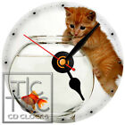 S-802 CD CLOCK-KITTEN TRYING TO GET THE GOLD FISH IN THE FISH BOWL-CAT LOVERS