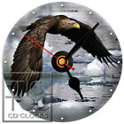 S-812 CD CLOCK-EAGLE FLYING OVER ICY LAKE-DESK-WALL-HOME OR OFFICE CLOCKS