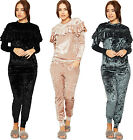 Womens Long Sleeve Velour Frill Loungewear Set Ladies Top Suit Leggings Pants