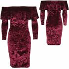 Ladies Long Sleeve Off Shoulder Bardot Frill Top Crushed Velvet Bodycon Dress