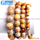 Handmade Yellow Crazy Lace Agate Beaded Energy Healing Stretchy Bracelet Gift 7""
