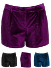 NEW Velvet Womens Shorts Ladies Velour Hotpants Short Size 8 10 12 14 Black Wine