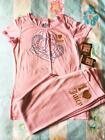 Juicy Couture Crown Tee Gold Glitter Heart Velour Pant Set NWT Sz 10 12 14