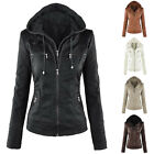 Women Fashion PU Leather Hooded Zip Pockets Top Jacket Coat 5 Colors Outwear New