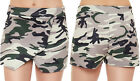 New Womens Army Camouflage Stretch Wrap Over Skort Hot Pants Ladies Shorts 6-12