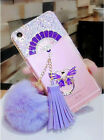 Bling Crystal Fan Tassel Rabbit Hair ball Ring Stand Hard PC Case For Cell Phone