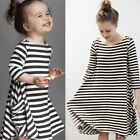 Fashion Women Girls Striped Long Sleeve Dress Princess Casual Loose Mini Dress