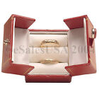 Jewelry Box Double Ring 2 Door Red Leatherette Gift Engagement Wedding Display