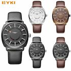 EYKI Men Men's Fashion Luxury PU Leather Quartz Round Dial Wristwatches