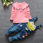 2pcs Toddler Infant Baby Girl Long Sleeve Tops+Pants Trousers Outfit Clothes Set
