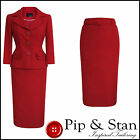 NEW NEXT UK8 US4 POPPY RED 50S VINTAGE INSPIRED PENCIL SKIRT SUIT WOMEN SIZE