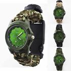 Camo 550 Paracord Survival Watch Bracelet With Compass Flint Fire Starter Kits