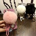 Luxury Bling Diamond  Rabbut Fur Plush Strap Back Case Cover For iphone7 6S PLUS