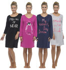 Womens Ladies Long Sleeve Nightie Nightwear Print NightDress