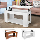 New Rectangle Lift Up Top Coffee Table with Storage & Shelf - Choice of Colours