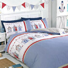 Seaside Beach House Duvet Cover Set - Reversible Bedding in Blue Beige & Red