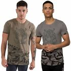 Mens T-Shirt Crew Neck Tee Graphic Print Top Camo Short Sleeve Juice Size S-XL