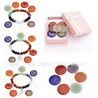 7 Chakra Round Slice Gold Graphic Symbols Carved Stone Colorful Bracelet Box Set