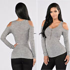 Fashion New Womens Slim Off Shoulder Shirt Crop Tops Long Sleeve Blouse Sweater