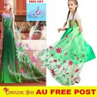 Girls Frozen Fever Dress Green Cape Costume Princess Queen Elsa Birthday Party