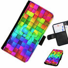 (INI97-T3) PERSONALISED RAINBOW BLOCKS INITIALS PU LEATHER PHONE CASE COVER