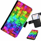 (INI97-T20) PERSONALISED RAINBOW BLOCKS INITIALS PU LEATHER PHONE CASE COVER
