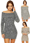 Womens Cable Knitted Bardot Dress Ladies Off Shoulder Long Sleeve Bodycon 8-14