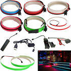 1M Neon LED Light Glow EL Wire String Strip Rope Ribbon Decor Party+Controller