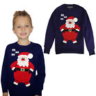 Kids 3D Novelty HoHoHo Santa Christmas Jumper Knitted Crew Neck Xmas Sweater Top
