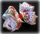 Little ELF Christmas Santa Claus Fabulous Double Layered Boutique Lush Hair Bow