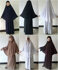 Women's Prayer Set Abaya Jilbab Long Dress Jellaba Islamic Clothing Hijab Skirt