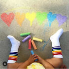 1pair Kids Rainbow Socks Warm Knee High Socks Boy Girl Cotton Striped Long Socks