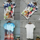 Lady Summer Vintage Graphic Digital Printed Short Sleeve T Shirt Tee Blouse Top
