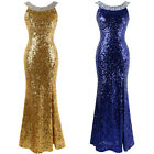 Angel-fashions Round Neck Beading Sequined Split Backless Evening Dress 090
