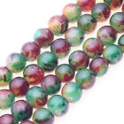 Lots 25/50PCS Semi Precious Natural Floral Stone Round Beads DIY Jewelry Finding