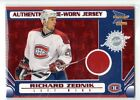 1X RICHARD ZEDNIK 2003 04 Pacific Prism RED #125 GAME USE JERSEY Serial #d 06/75