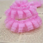 1/5/10M 3-layer Lace Edge Trim Gathered Pleated Organza Ribbon Sewing Craft