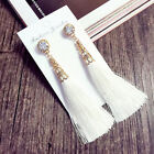 Fashion Rhinestone Long Tassel Dangle Earrings for Women Thread Fringe Drop