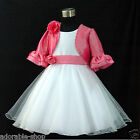 Hot Pink White Christmas Flower Girls Dresses + Cardigan SIZE 0T,2T,4T,6T,8T,10T