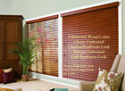 "2"" FAUXWOOD BLINDS 92"" WIDE x 49"" to 60"" LENGTHS - 4 GREAT WOOD COLORS!"